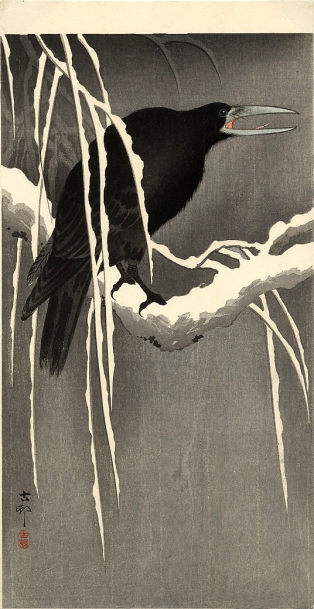 ohara koson - crow on the snowy branch