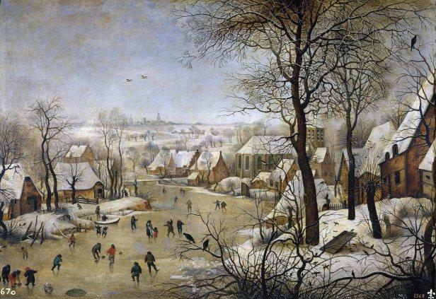 Pieter Bruegel il Vecchio, Paesaggio invernale con pattinatori e trappola per uccelli, 1565
