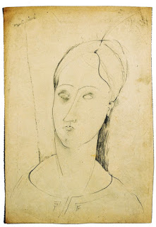 MODIGLIANI-Ritratto-di-donna-matita-su-carta-1917