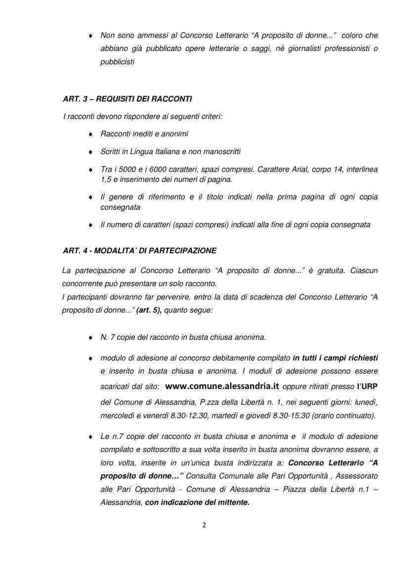Concorso Regolamento Concorso Letterario A proposito di Donne_Alessandria 2