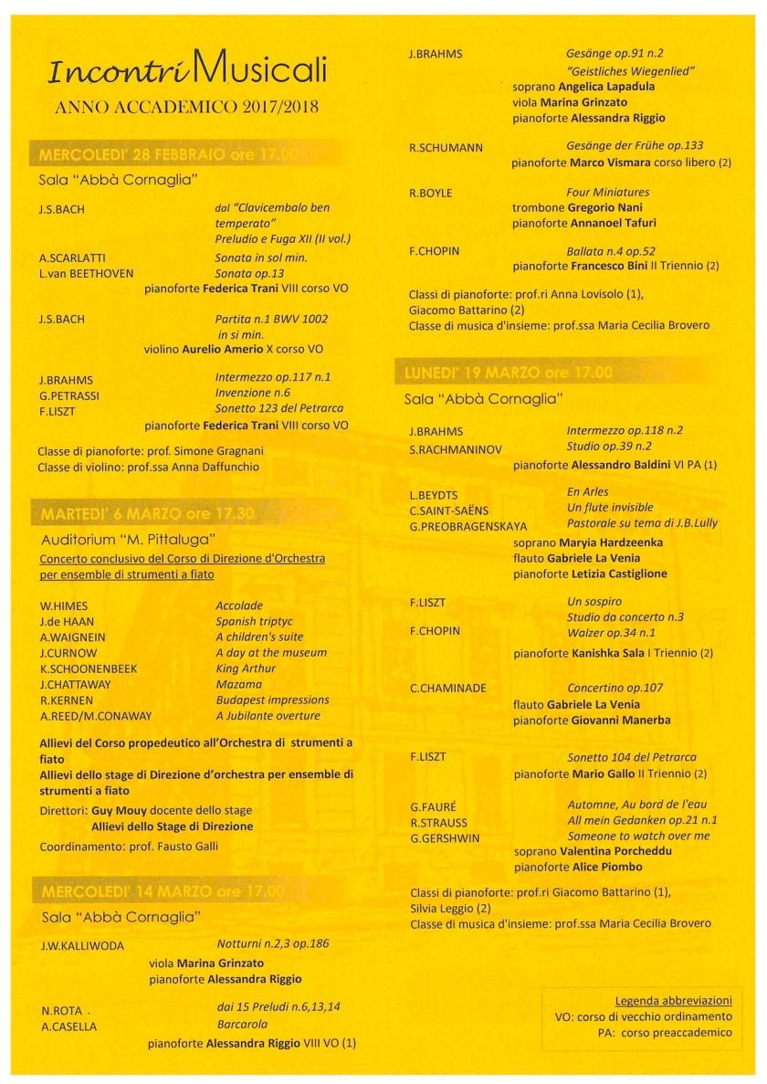 Vivaldi Incontri Musicali Feb-Marzo 2018 programma