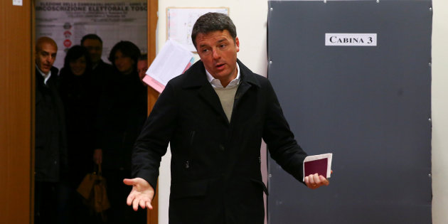 Democratic Party leader Matteo Renzi reacts as he arrives to cast his vote at a polling station in Florence