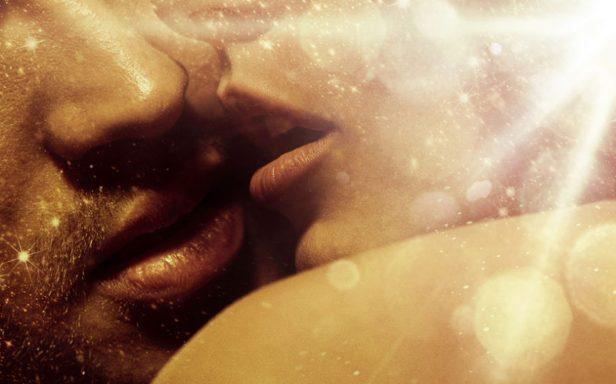 Romantic style portrait of over's lips