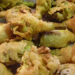 Apetitosa alcachofa entempura