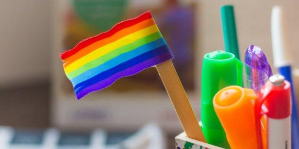 rainbow flag on a desk