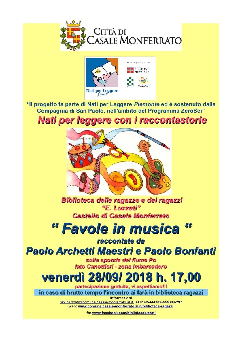 cas locandina NPL letture favole e musica Archetti-Bonfanti in riva al fiume 28-9-2018