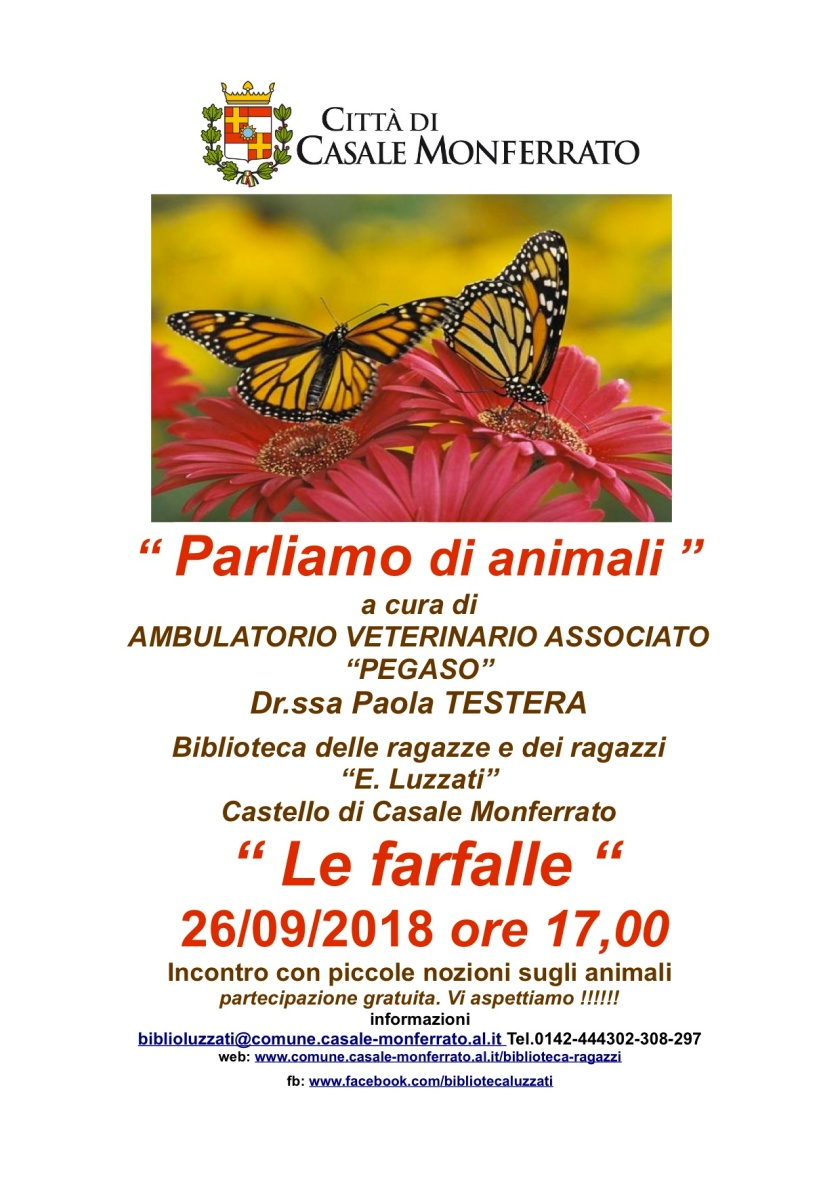 cas locandina parliamo di animali 26-9-2018