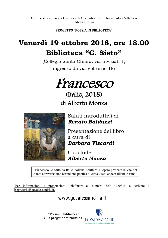 Francesco 19 ottobre 2018 presentazione libo Francesco