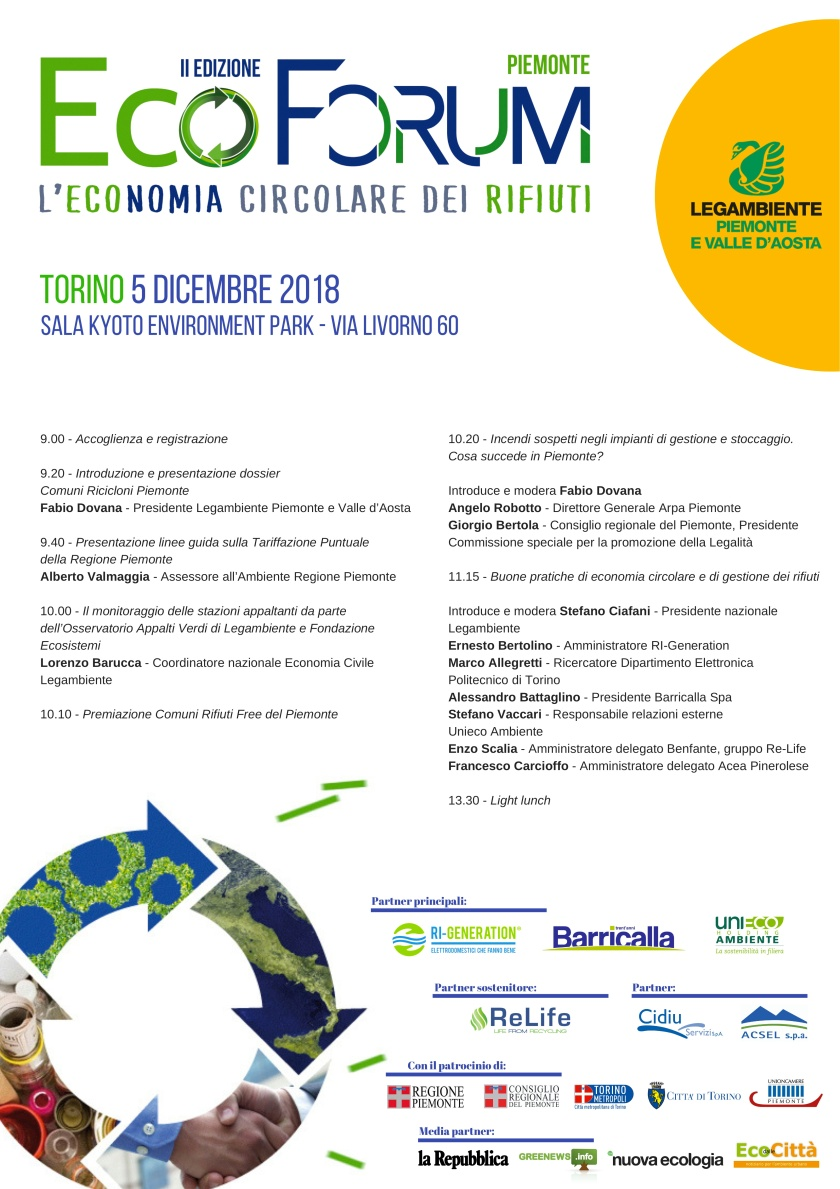 EcoForum per l'Economia Circolare del Piemonte 2018 - programma