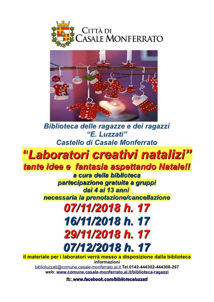nov locandina laboratori creativi natalizi 4 incontri 2018