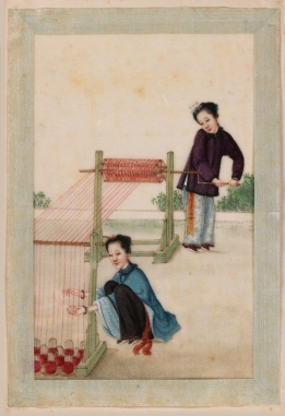 vidua Due donne che avvolgono la seta ad un subbio, anonimo pittore cinese 1827-1829, acquerello