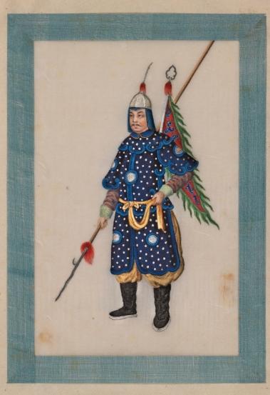 vidua Un guerriero, anonimo pittore cinese 1827-1829, acquerello