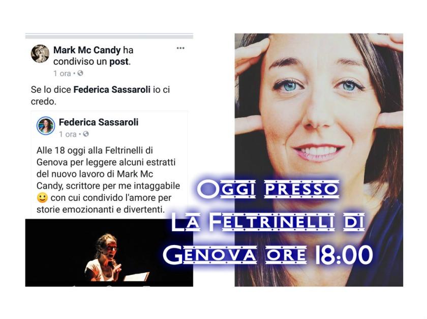 L'immagine descrive Federica Sassaroli e il commento che Mark Mc Candy ha scritto sul suo diario