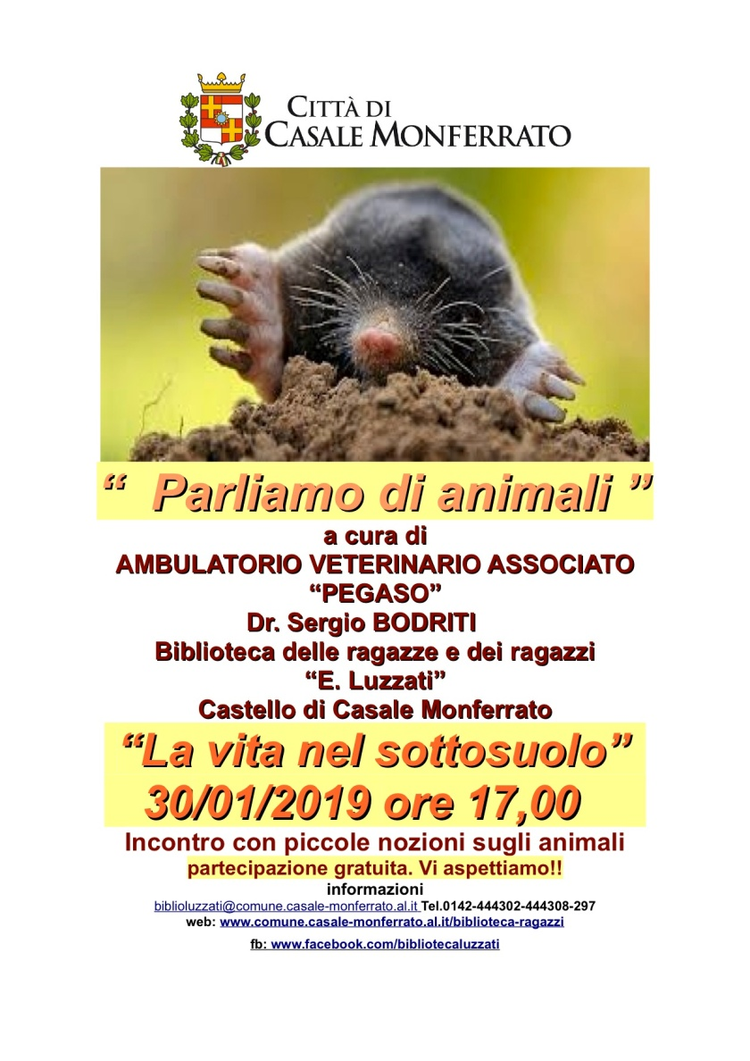 genn locandina parliamo di animali 30-1-2019 vita nel sottosuolo
