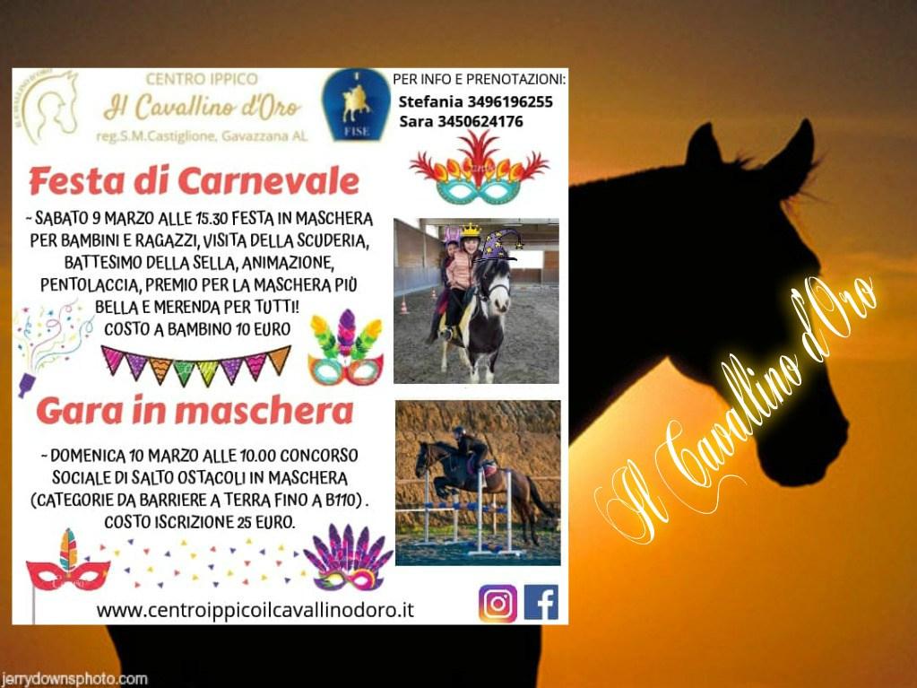 EQUITAZIONE e festa in maschera a Gavazzana  – di MarinaVicario