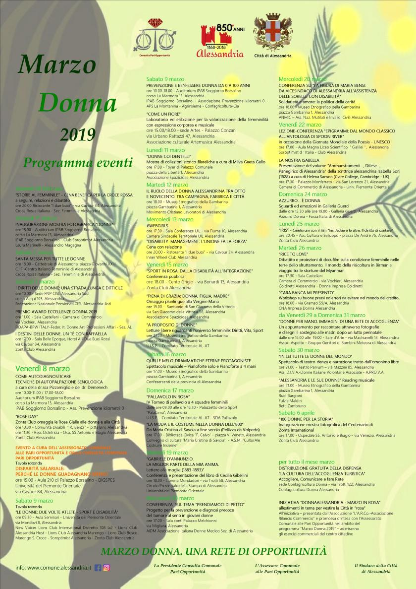 Locandina Programma Marzo Donna Alessandria 2019