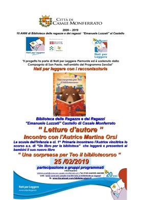 Luzzati locandina letture NPL letture e presentazione nuovo libro autrice Orsi Martina 25-2-2019