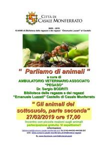 Luzzati locandina parliamo di animali 27-2-2019 vita nel sottosuolo parte 2