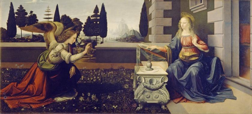 Figura 2, Leonardo da Vinci 1452-1519 Annunciazione1 tempera su tavola, 98x217 cm Firenze, Galleria degli Uffizi