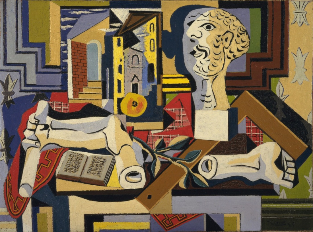 pablo-picasso-studio-with-plaster-head-juan-les-pins-summer-1925