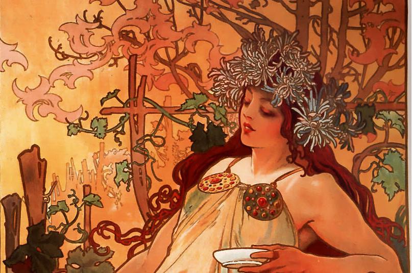 Alfons Mucha, Art Nouveau, autunno, le quattro stagioni