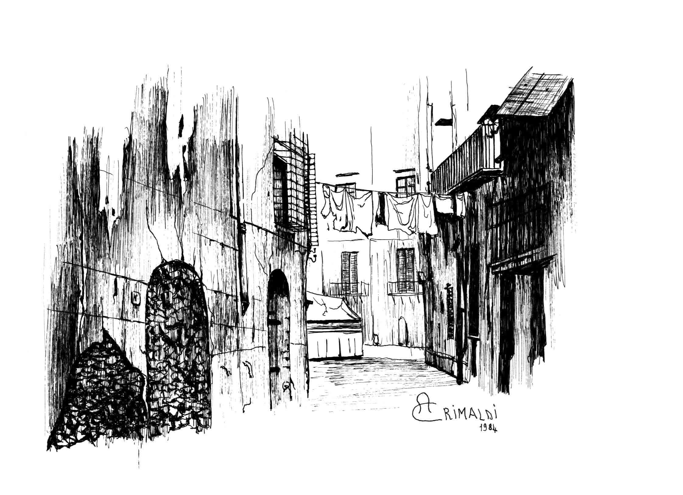 PALERMO 'VICOLO, CHINA SU CARTA, cm 34 x 22 - Copia