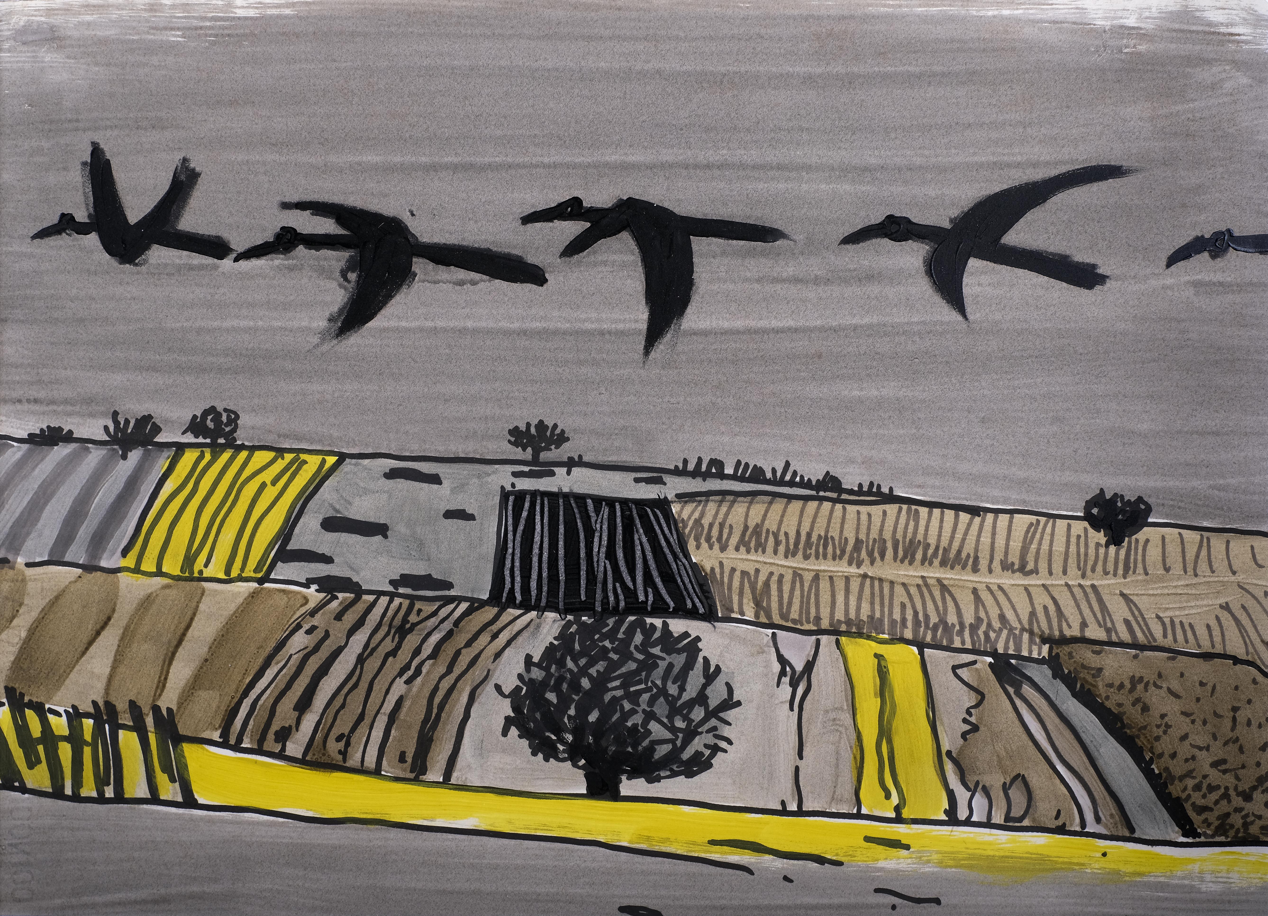 Angelo Ruga - S.T. - Tec. mista su carta 47x33 - 1994