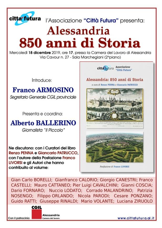 Locandina presentazione Alessandria850, 18 dic 2019