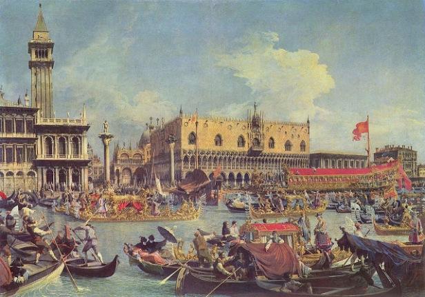 Canaletto il ritorno del Bucintoro al molo nel giorno dellascensione